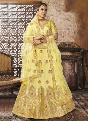 Silk Zari Yellow Lehenga Choli