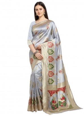 Silver Banarasi Silk Weaving Traditional Saree