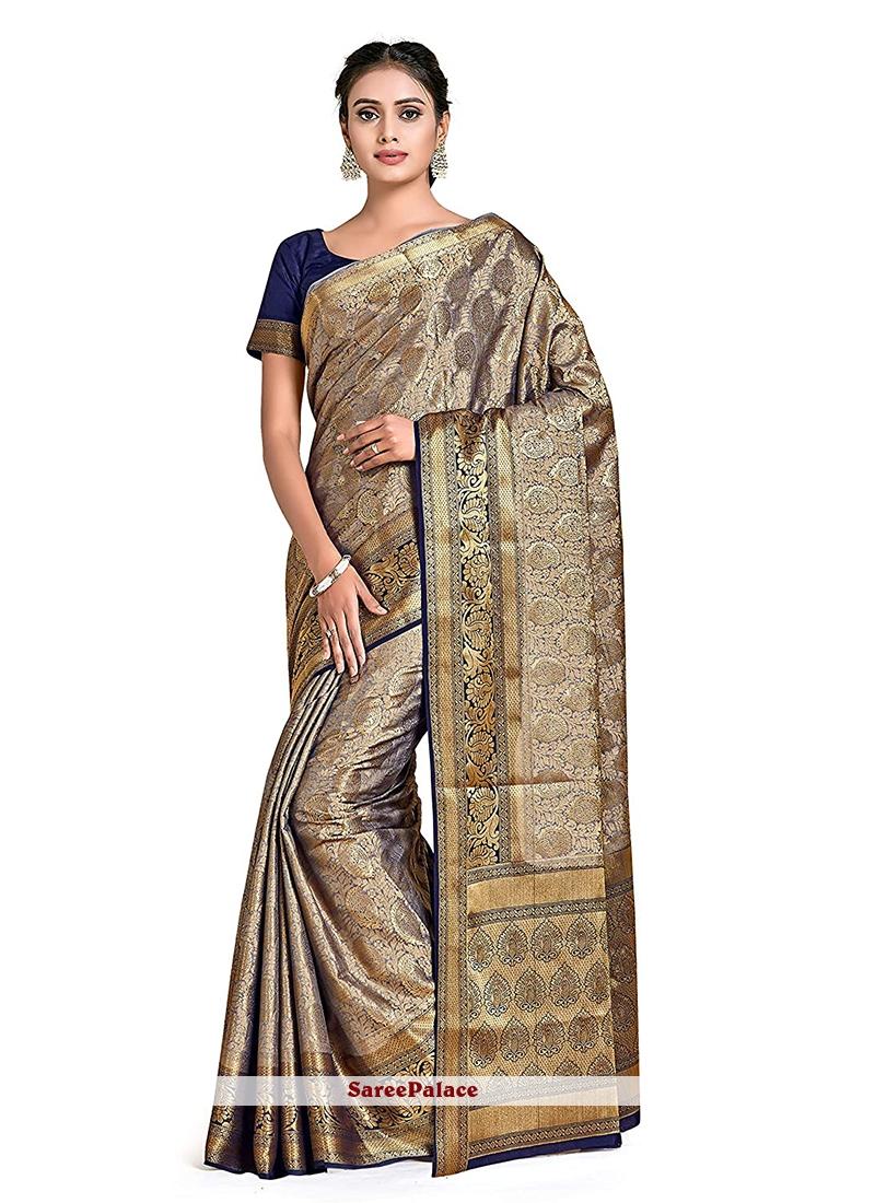 Silver Color Designer Traditional Saree
