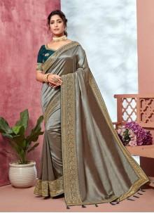 Silver Embroidered Mehndi Classic Saree