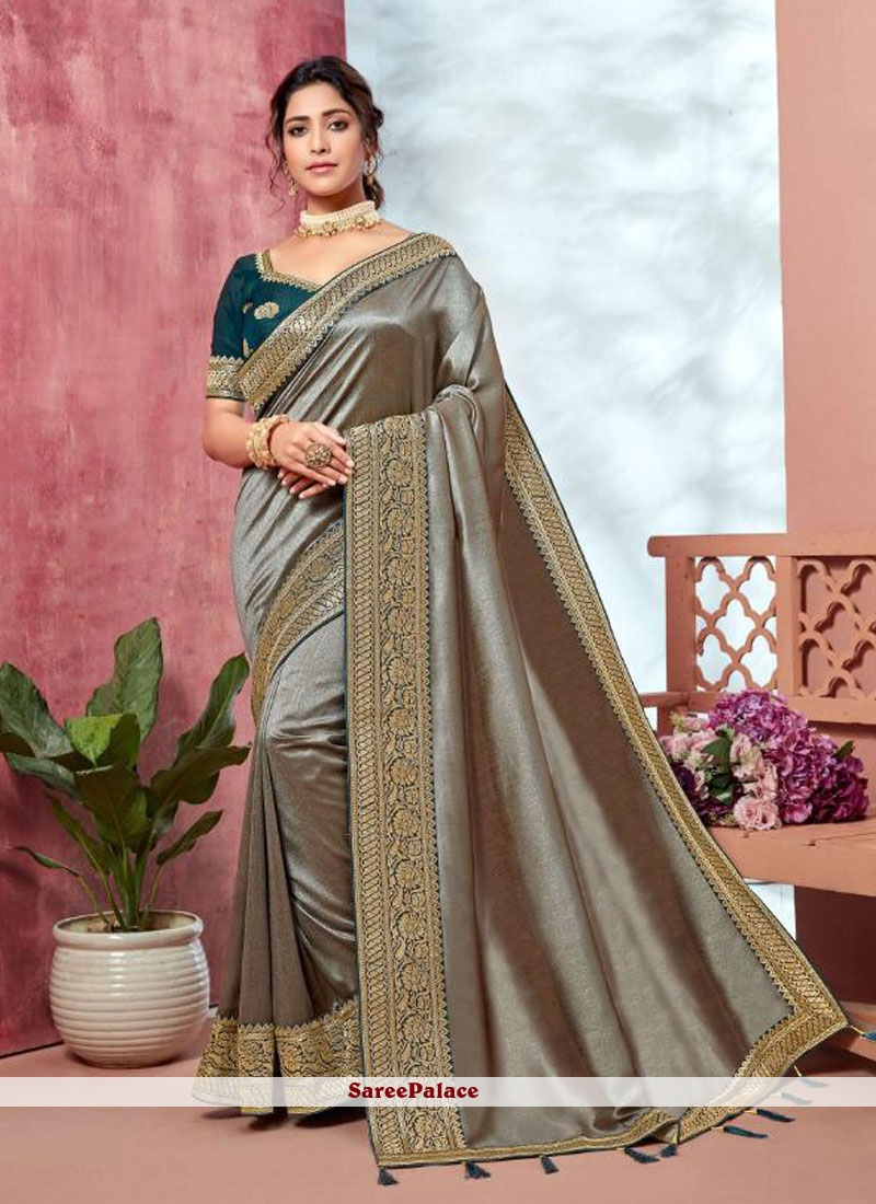Silver Embroidered Mehndi Classic Saree