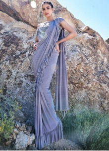 Silver Fancy Fabric Classic Saree