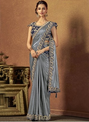Silver Lycra Embroidered Classic Saree
