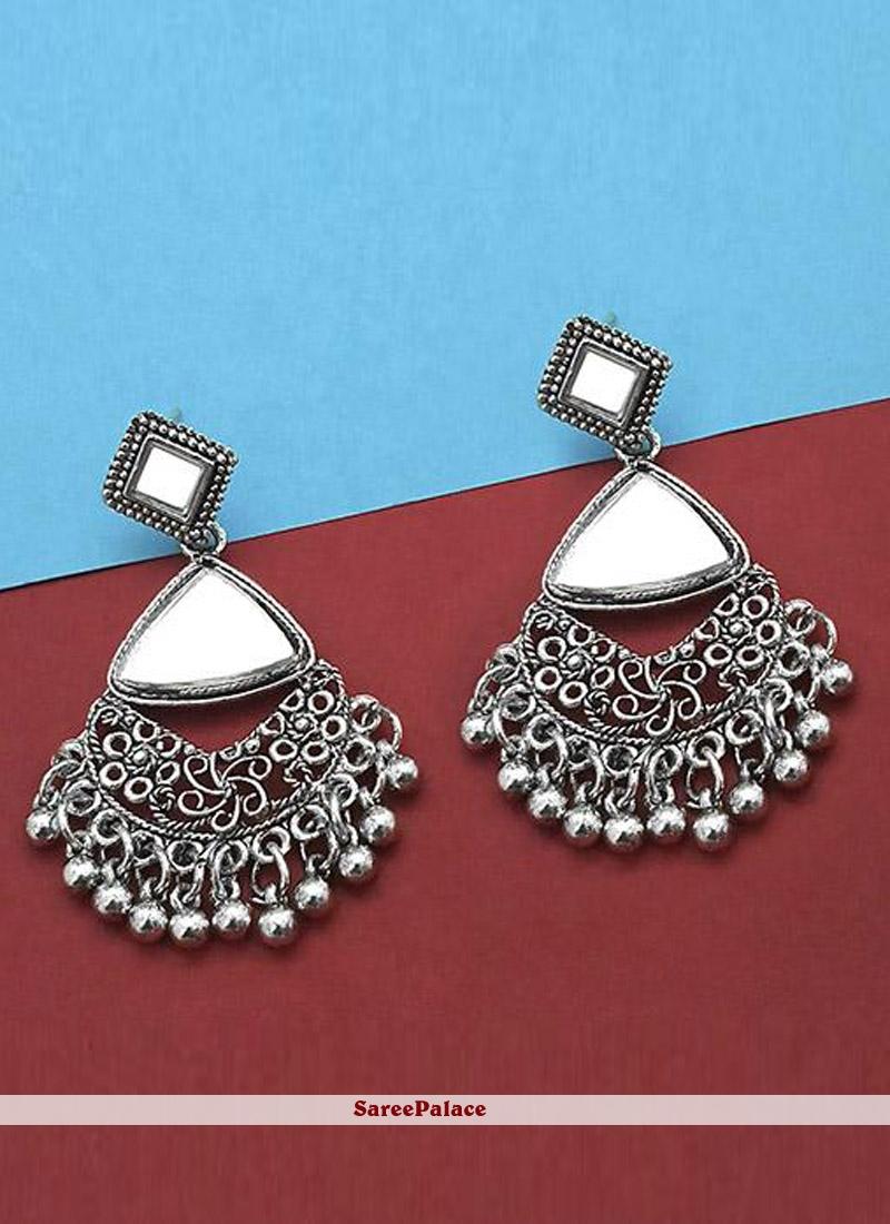 Silver Mirror Casual Ear Rings