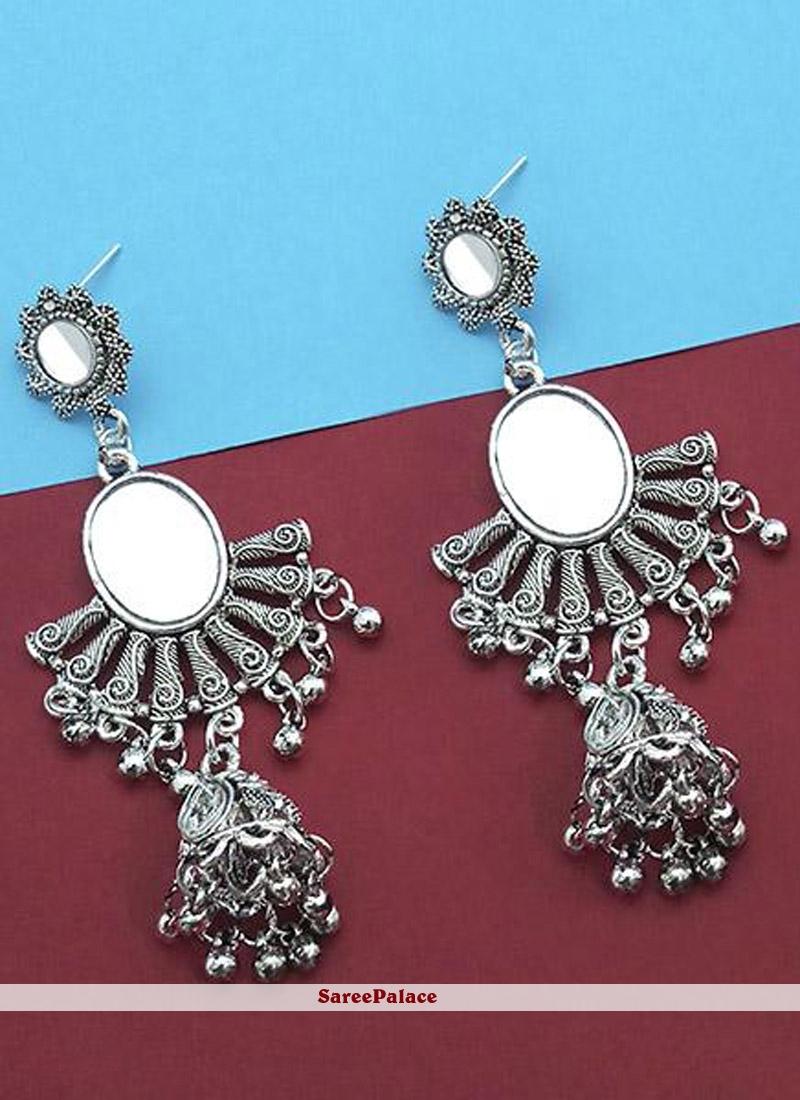 Silver Mirror Ear Rings