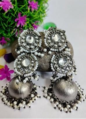 Silver Stone Work Reception Ear Rings