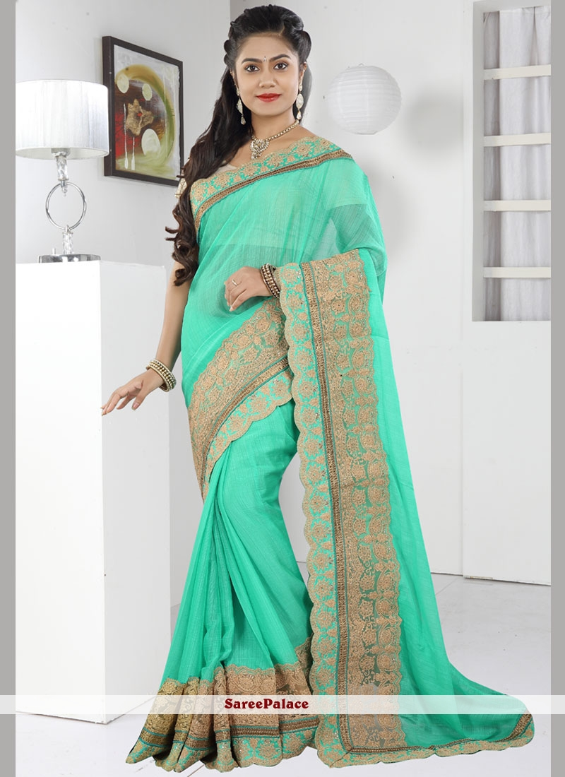Simplistic Faux Chiffon Embroidered Work Classic Saree