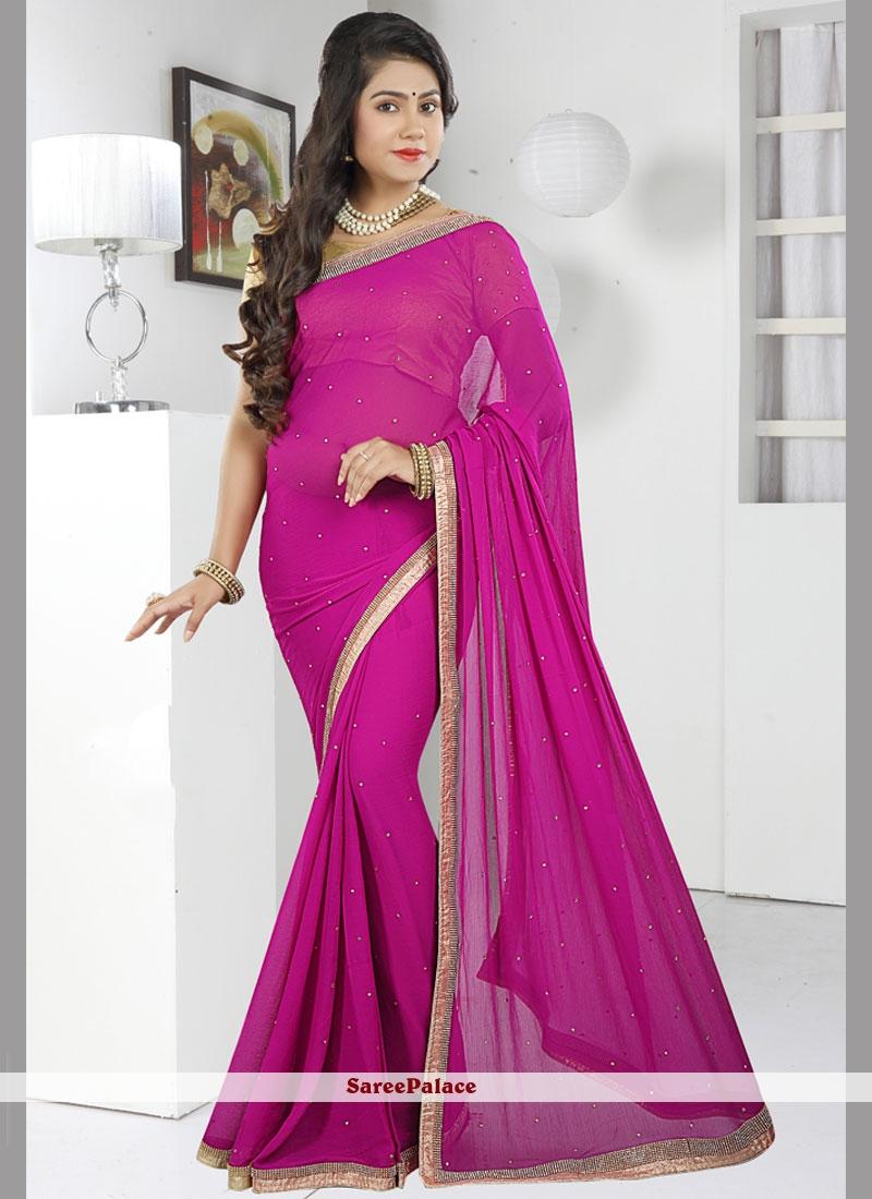 Snazzy Chiffon Satin Lace Work Classic Designer Saree