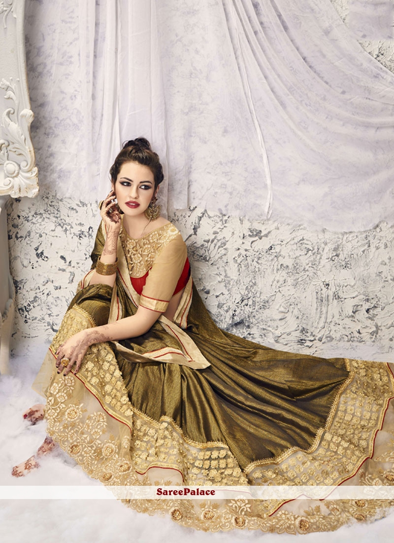 Snazzy Faux Georgette Green Embroidered Work Saree