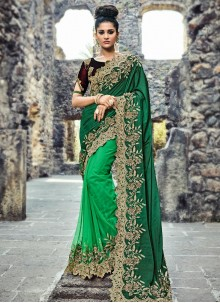 Snazzy Green Embroidered Work Designer Half N Half Saree