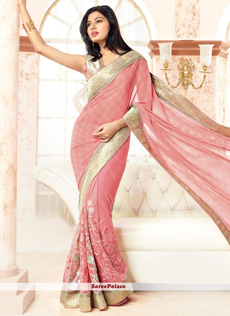 Solid Pink Net And Faux Georgette Designer Saree