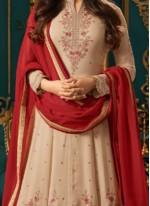 Sonal Chauhan Cream Floor Length Anarkali Suit