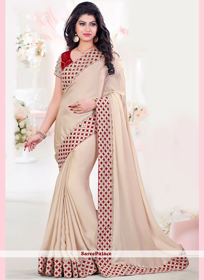 Sonorous Art Silk Beige and Red Embroidered Work Designer Traditional Saree