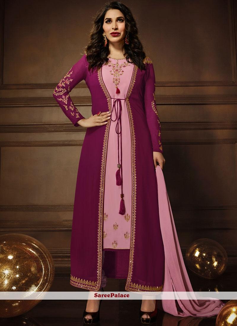Buy Sophie Chaudhary Faux Georgette Zari Work Jacket Style Suit Online