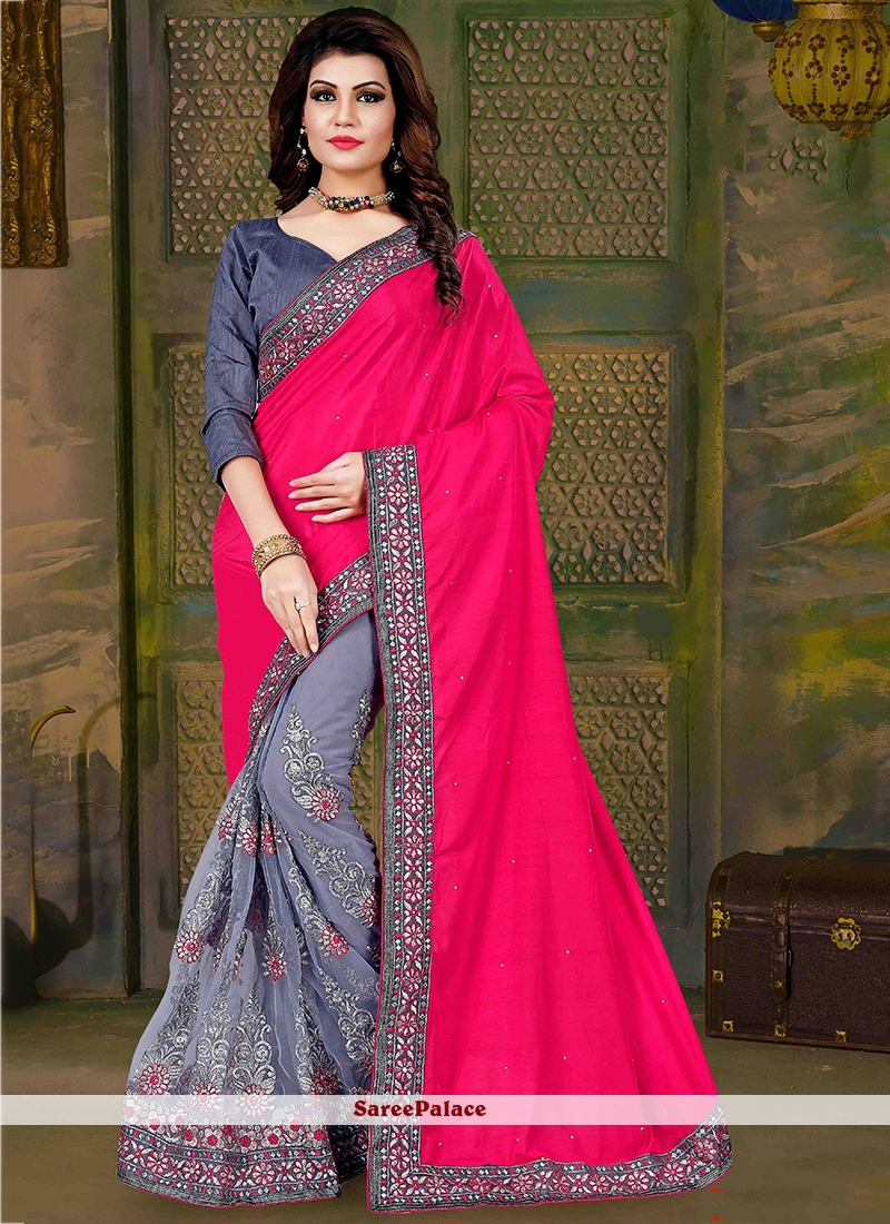 Sophisticated Art Silk Grey and Hot Pink Embroidered Work Traditional  Saree