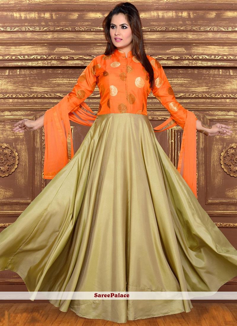 Sophisticated Art Silk Orange Readymade Anarkali Salwar Suit