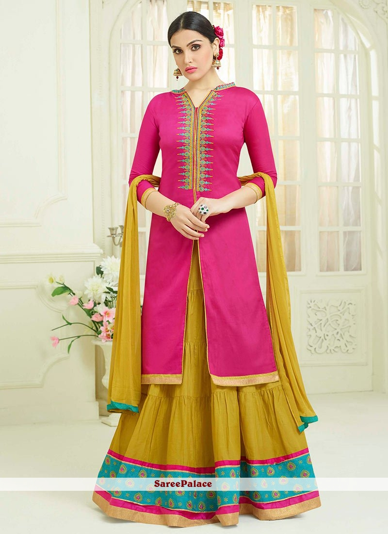 92c68c2de4 Buy Sophisticated Cotton Hot Pink Lace Work Long Choli Lehenga Online