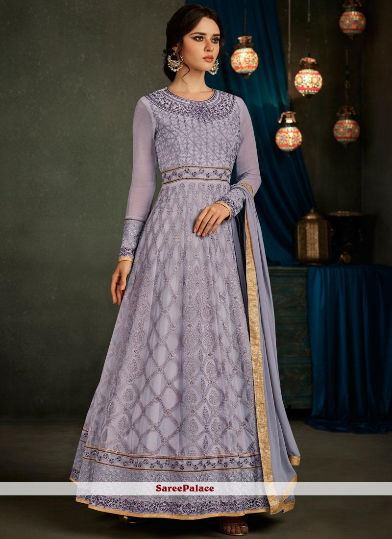 Sophisticated Lavender Floor Length Anarkali Suit