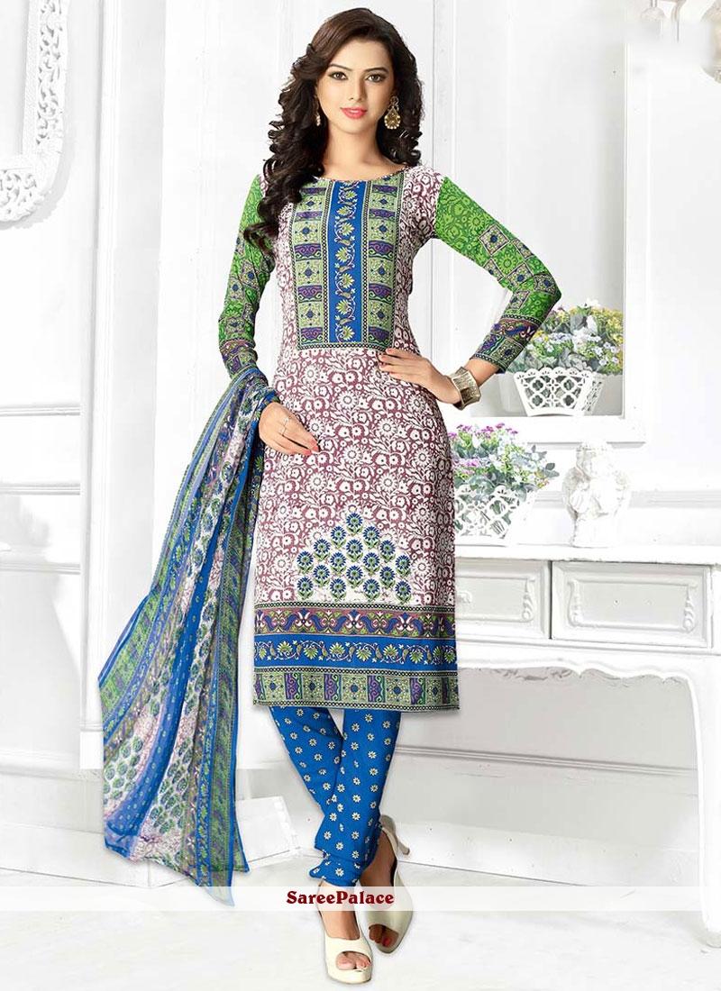 Sophisticated Leon Multi Colour Print Work Churidar Suit