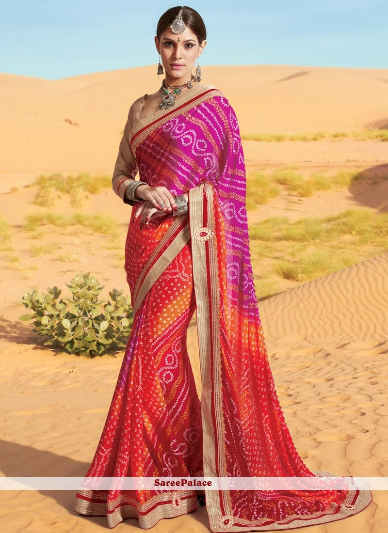 Sophisticated Multi Colour Print Work Georgette Printed Saree