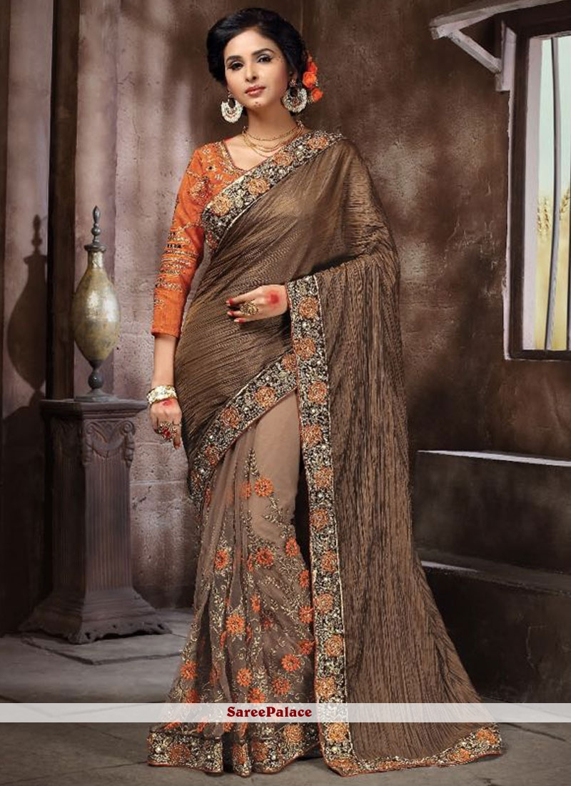 Sophisticated Net Embroidered Work Designer Half N Half Saree