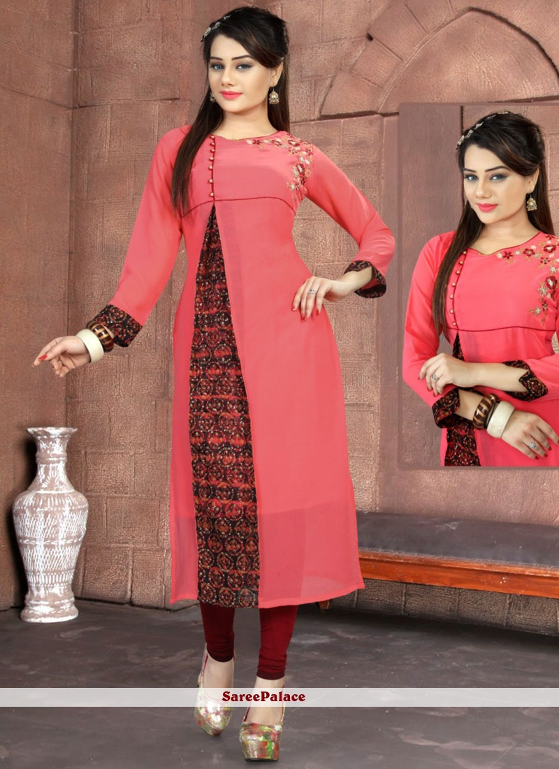 Sophisticated Rose Pink Party Wear Kurti