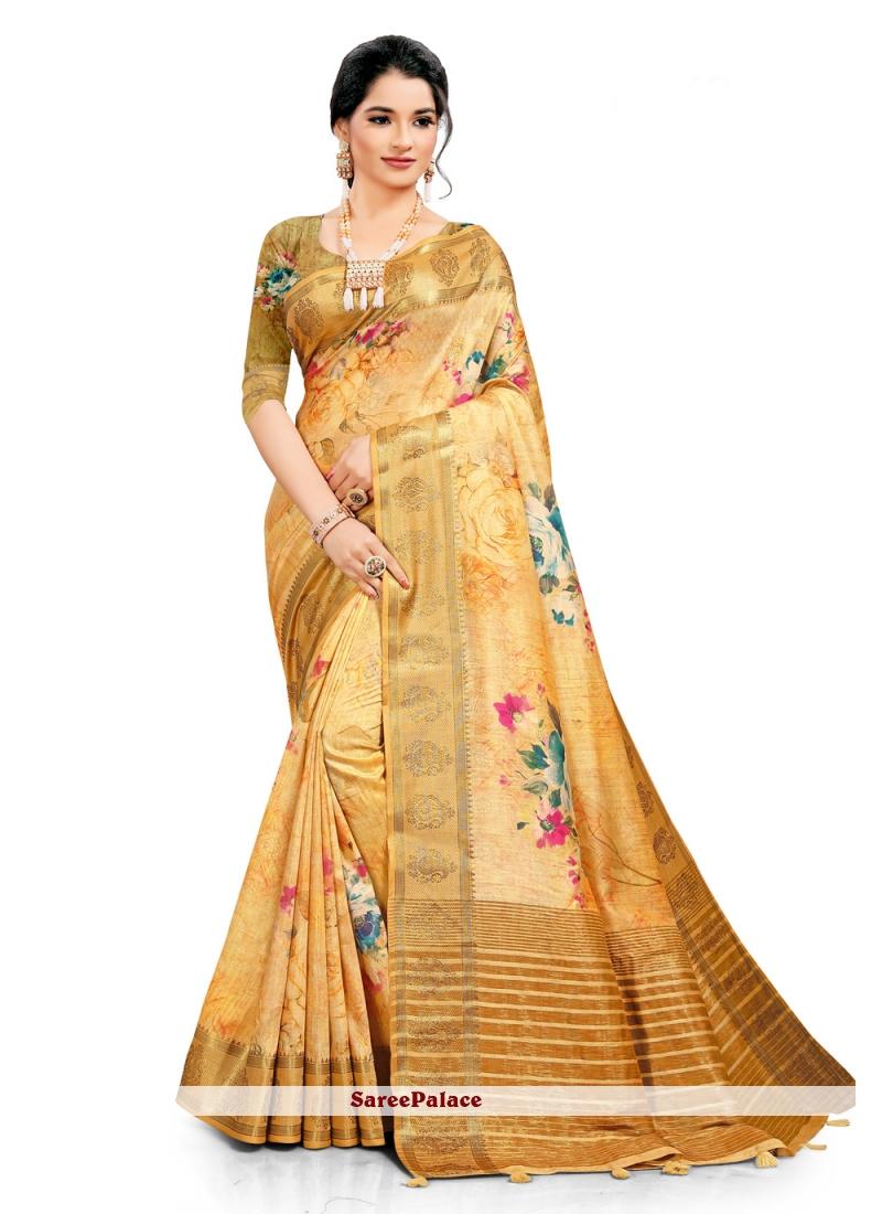 South Cotton Yellow Digital Printed Saree