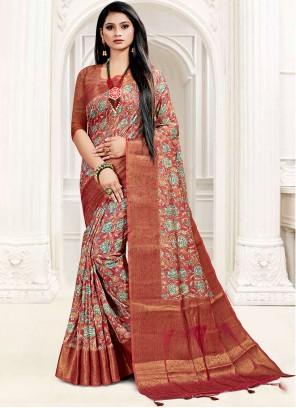 South Cotton Digital Print Printed Saree in Multi Colour