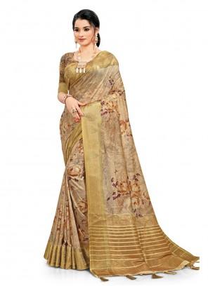 South Cotton Beige Printed Saree