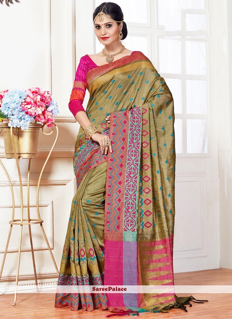 Sparkling Art Silk Green Weaving Work Traditional Designer Saree