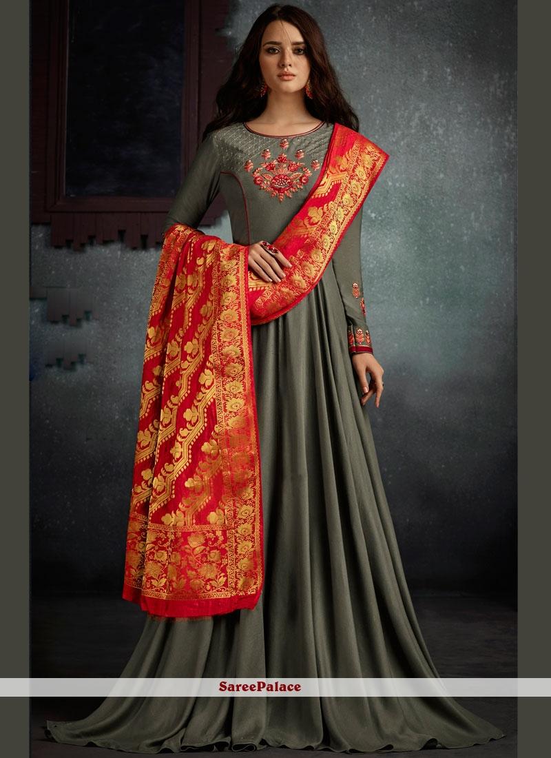 Sparkling Embroidered Work Floor Length Anarkali Suit
