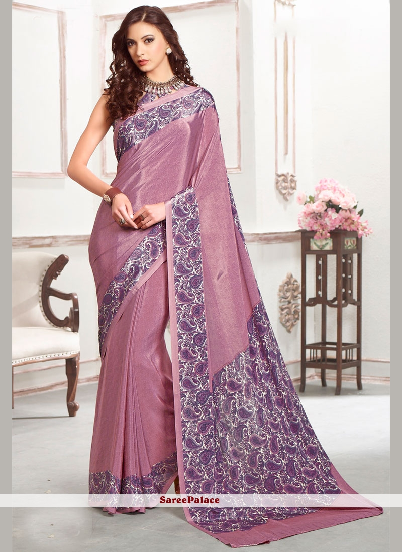 Sparkling Purple Print Work Faux Crepe Casual Saree