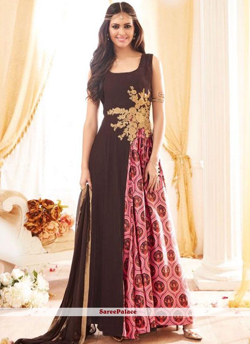 Sparkling wine georgette floor length designer salwar suit for Floor length suits