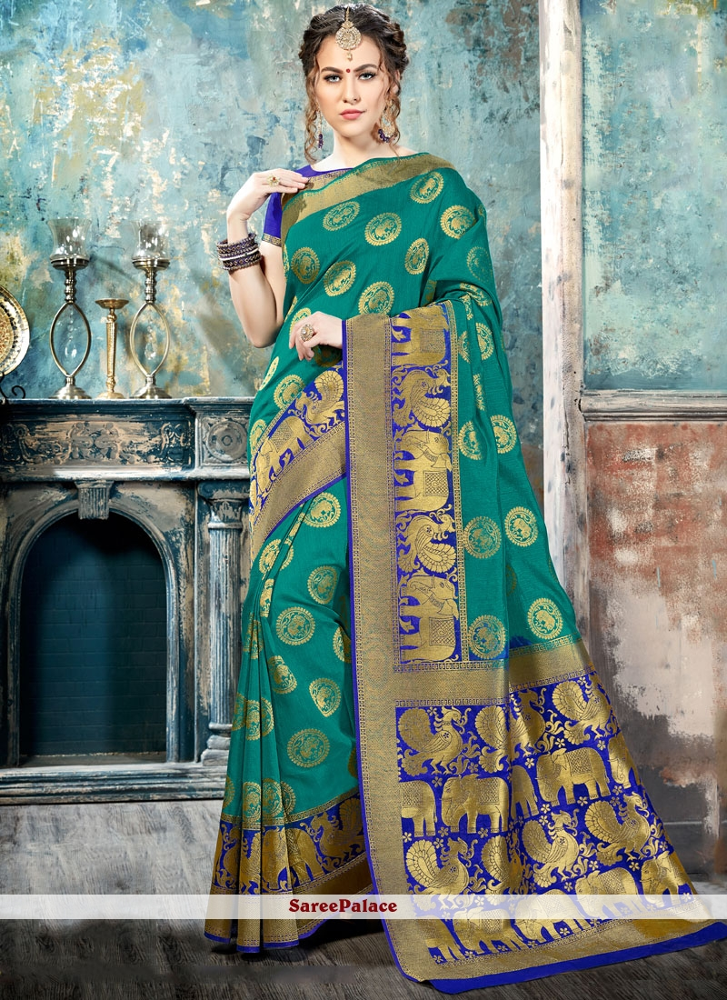 Specialised Abstract Print Work Sea Green Silk Traditional  Saree