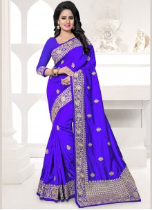 Specialised Embroidered Work Blue Traditional Designer Saree