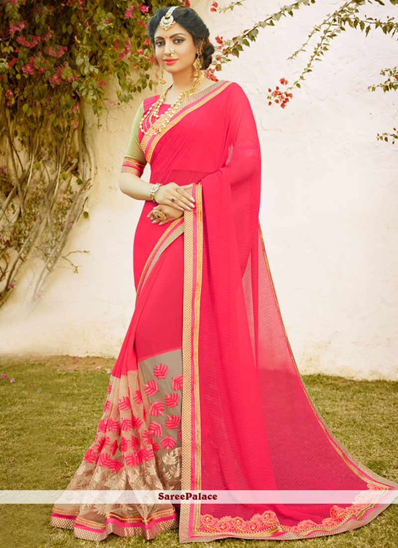 Specialised Faux Chiffon Zari Work Designer Saree
