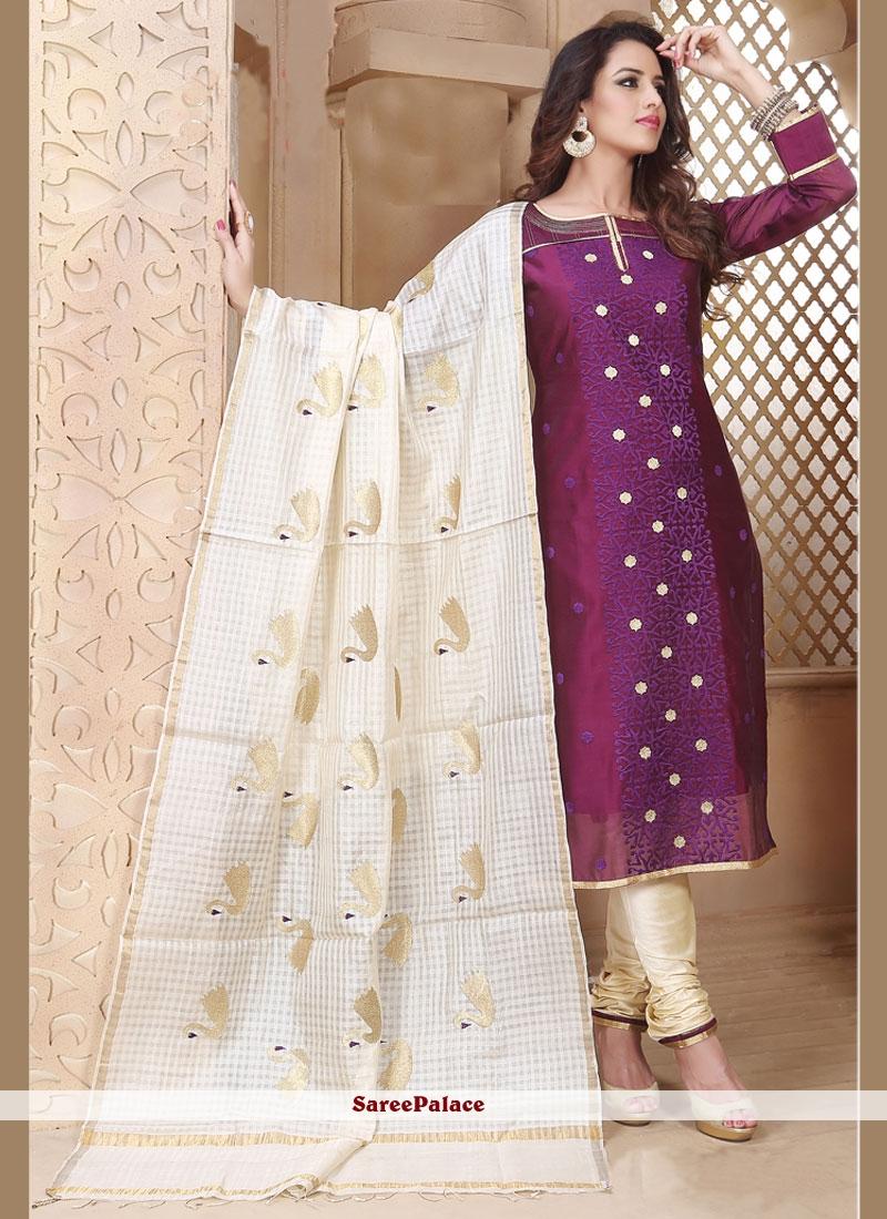Spectacular Embroidered Work Purple Chanderi Churidar Designer Suit