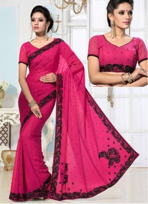 Spectacular Hot Pink Embroidered Border Work Designer Saree