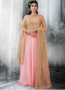 Spectacular Resham Work Pink Net Floor Length Anarkali Suit