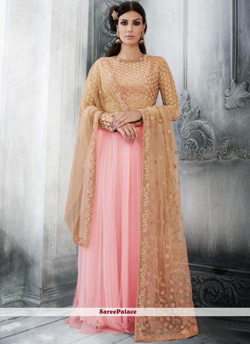 Spectacular Resham Work Pink Net Floor Length Anarkali Suit
