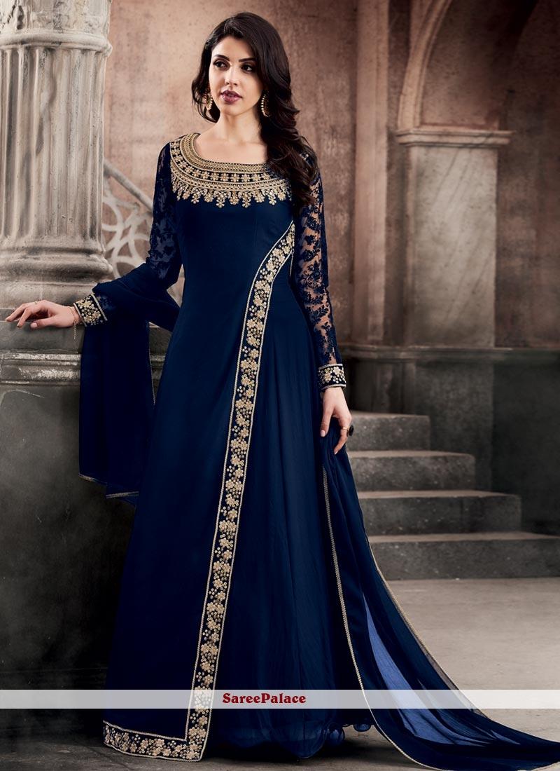9bf71cd6dc Buy Spellbinding Embroidered Work Faux Georgette Blue Floor Length Anarkali  Suit Online