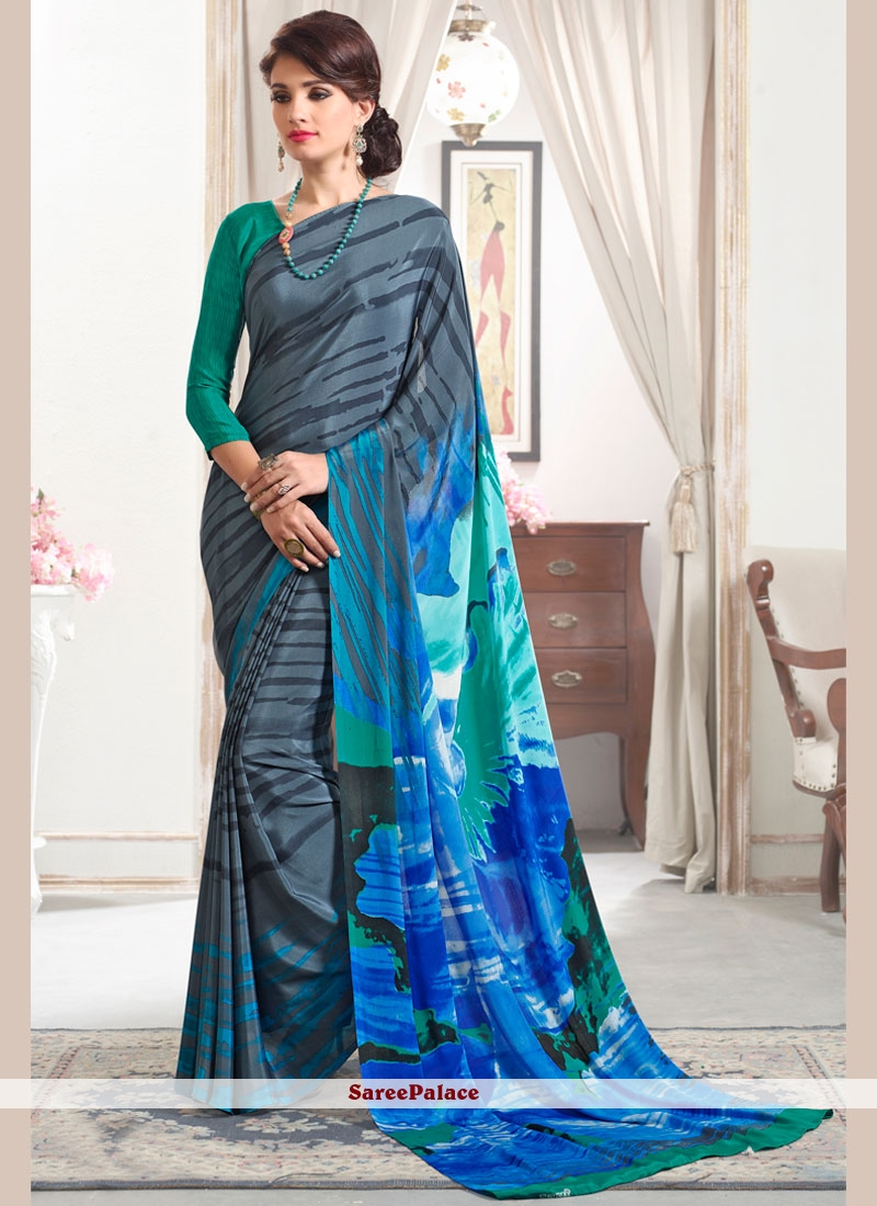 Spellbinding Multi Colour Print Work Printed Saree