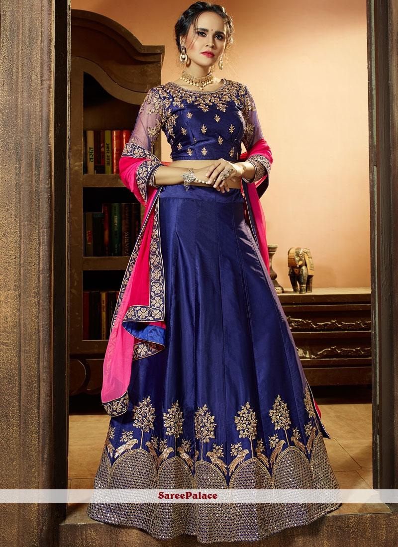 9358e1ce63 Buy Spellbinding Navy Blue Embroidered Work Satin Silk Lehenga Choli Online