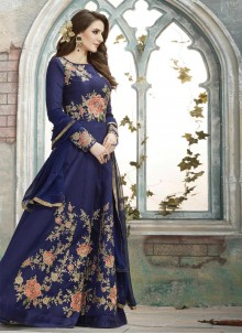 Spellbinding Resham Work Navy Blue Art Silk Floor Length Anarkali Suit