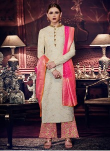 Spellbinding Tussar Silk Embroidered Work Designer Palazzo Suit