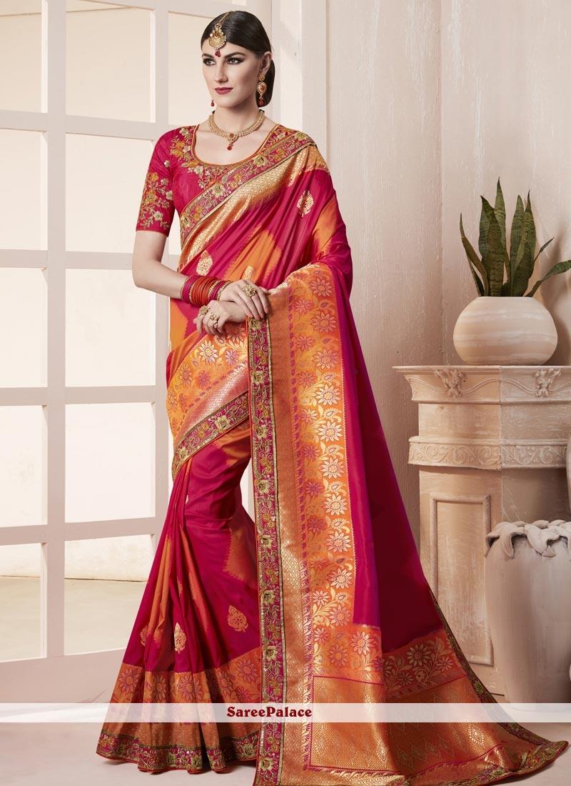 fee444b120d Buy Splendid Art Silk Crimson and Orange Designer Traditional Saree Online