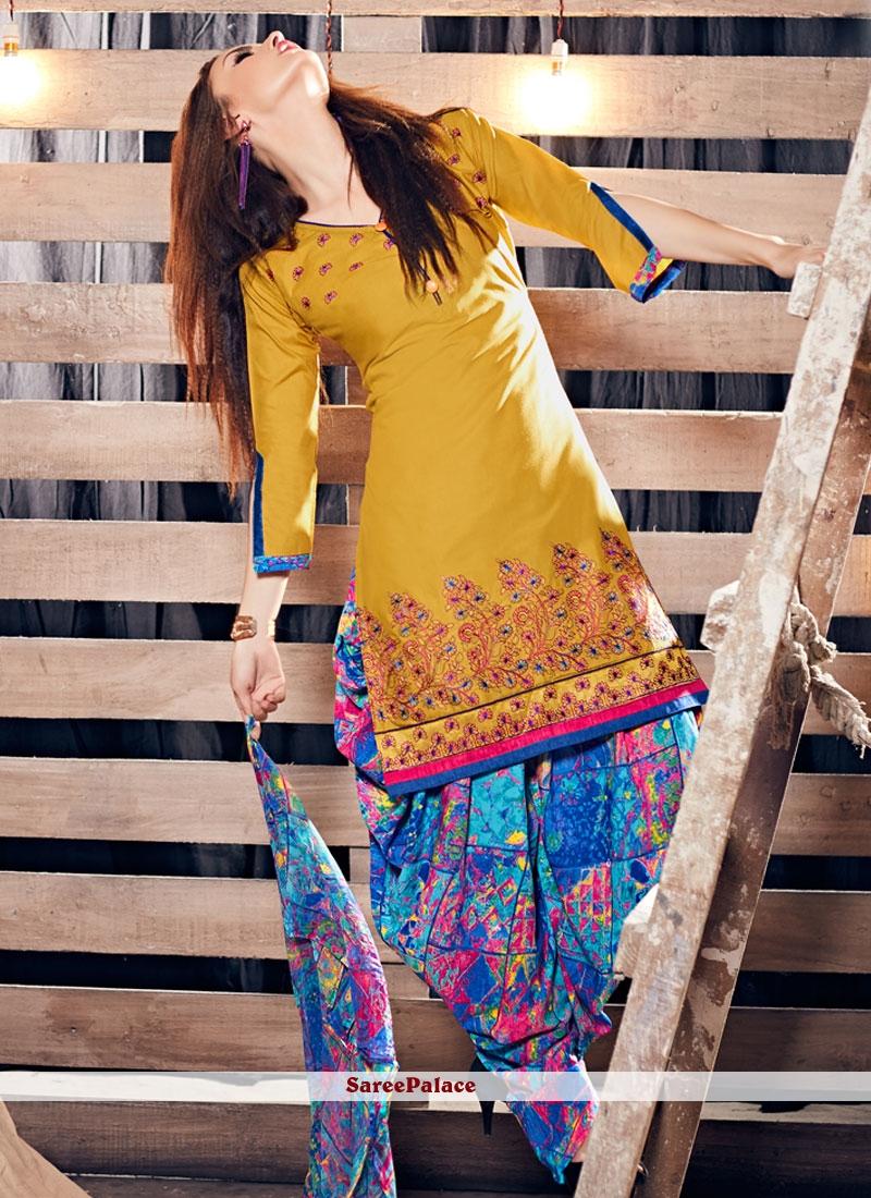 Resham Work Cotton Punjabi Suit In Mustard