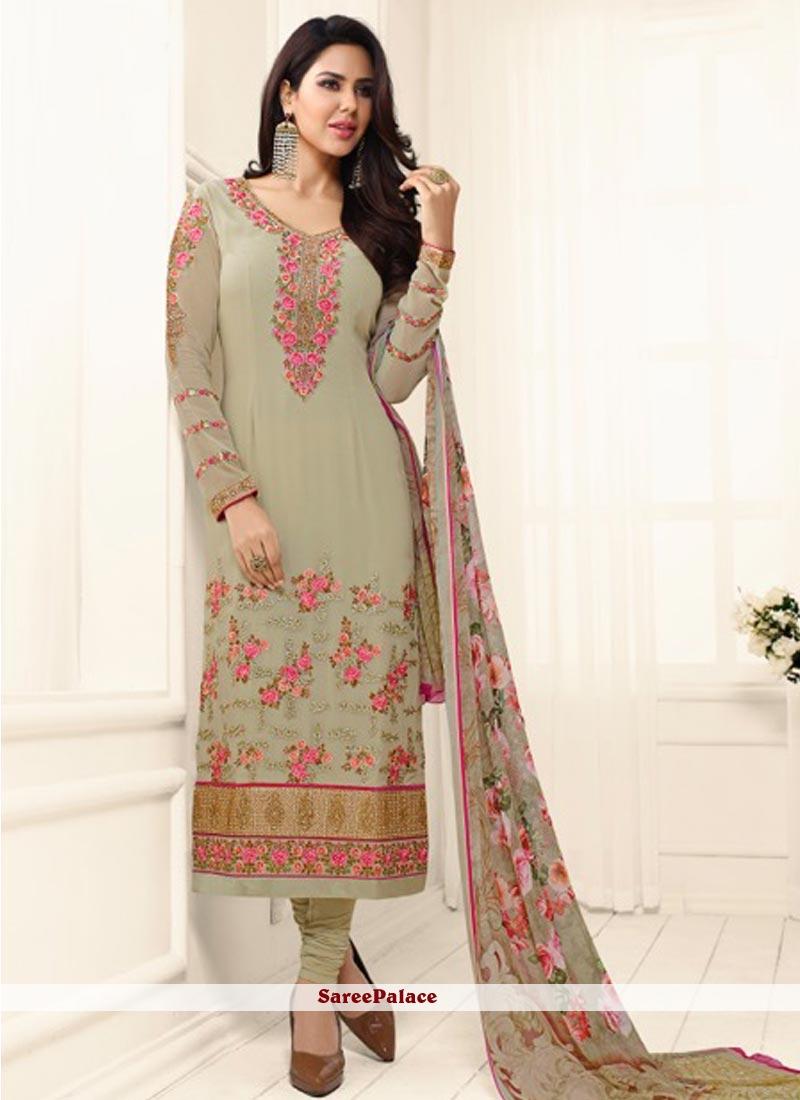 Splendid Embroidered Work Churidar Designer Suit