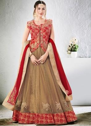 Splendid Net Beige and Red Lehenga Choli