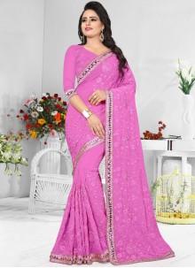 Splendid Pink Designer Saree